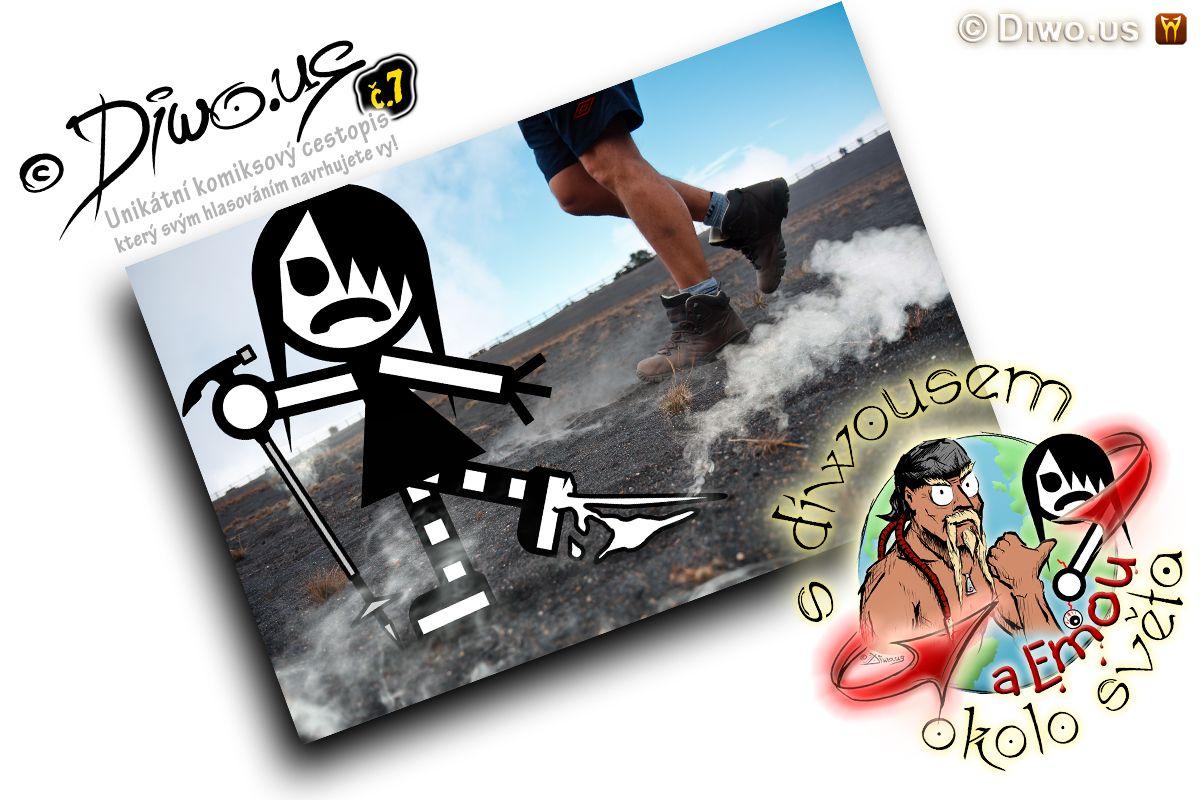 Diwous - s Diwousem a Emou okolo světa - díl 7 - Sopečné trampoty, unikátní komiksový obrázkový cestopis, komiks, Emo Ema, FUJ!SLABIKÁŘ, FUJSLABIKÁŘ, morálně závadný komiks, pro psychicky narušené děti, tropy, sopka, vulkán, Kostarika, kráter, láva
