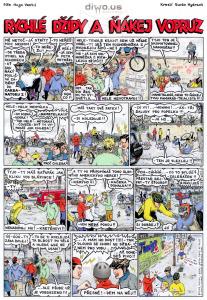 Diwous - komiks Rychlé Džípy, díl 24- Rychlé Džípy a ňákej vopruz, Červys, Hujer, Mirek Pušín, Jarka Nametelka, Volnoběžka, Červenáček, Jindra Hojer, Mirek Dušín, Jarka Metelka, Rychlonožka, Rychlé Šípy, parodie, Nejšílenější bikerský komiks na světě, legendární, kult, časopis Peloton, komix, originál