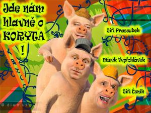 Diwous - Tři čuníci, prasátka, 3, Mirek Topolánek, Jiří Paroubek, Jiří Čunek, koryta, vtip, humor