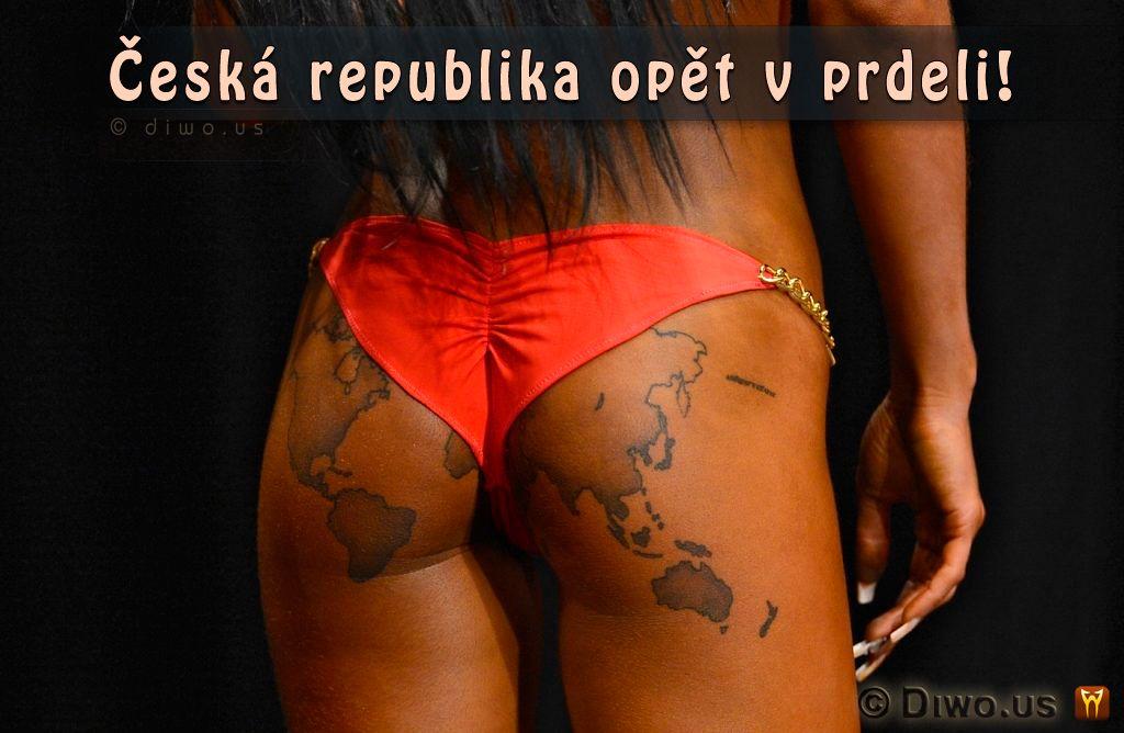 Diwous - Česká republika opět v prdeli, ČR, humor, kérka, mapa světa, prdel, tattoo, tetování, vtip, zadek