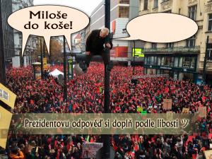 Diwous - Červené karty pro prezidenta Miloše Zemana, demonstrace, humor, Miloše do koše!, vtip