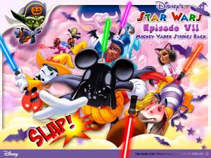 Diwous - Star Wars - Epizode VII 7 - Mickey Vader Strikes Back, acquisition, C-3PO, Chewbacca, Dark Side, Darth Maul, Darth Vader, Duck Donald, humor, Jar Jar Bings, lightsaber, Lucasfilm, Master Yoda, Mickey Mouse, Minnie, Pink Side, Plo Koon, pozadí, Princess Leia, Stormtrooper, tapeta, The Force Awakens, The Walt Disney Company, vtip, Watto