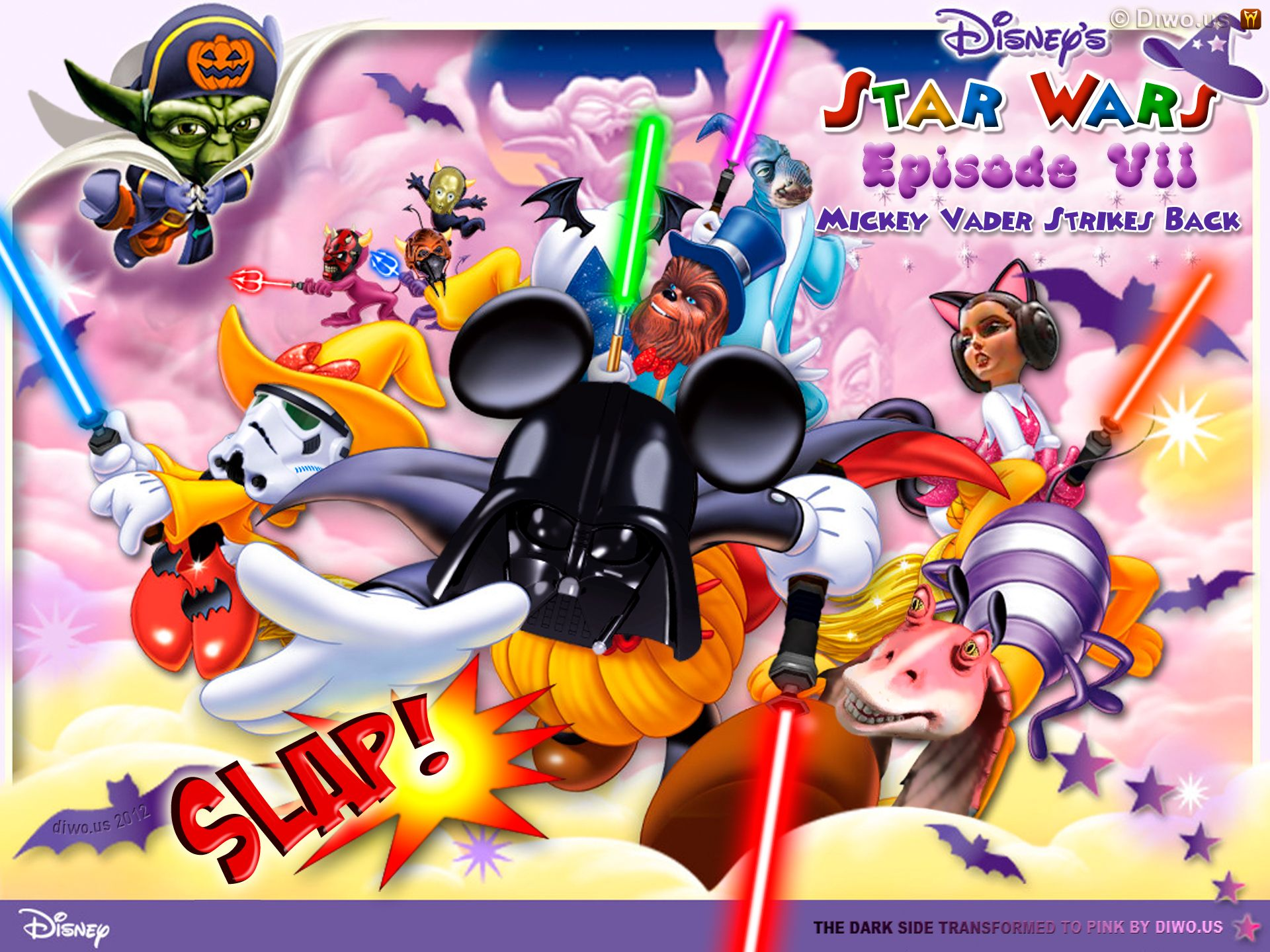 Diwous - Star Wars - Epizode VII 7 - Mickey Vader Strikes Back, acquisition, C-3PO, Chewbacca, Dark Side, Darth Maul, Darth Vader, Duck Donald, humor, Jar Jar Bings, lightsaber, Lucasfilm, Master Yoda, Mickey Mouse, Minnie, Pink Side, Plo Koon, pozadí, Princess Leia, Stormtrooper, tapeta, The Force Awakens, The Walt Disney Company, vtip, Watto