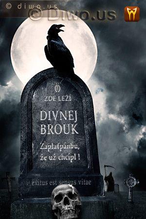Diwous - Divnej Brouk - náhrobek, náhrobní kámen, zde leží, lebka, havran, smrťák s kosou, keltský hřbitov