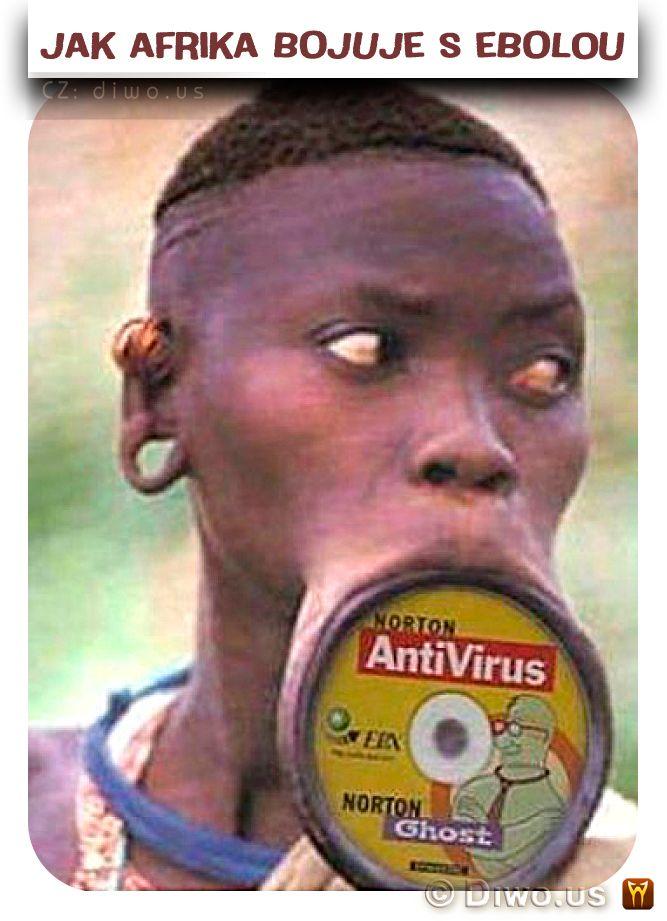 Diwous - Jak Afrika bojuje s Ebolou, ebola, antivirus, antivirový program Norton, CD, Etiopie, Mursiové, talířky do rtů, ozdoba, šperk, disk, domorodec