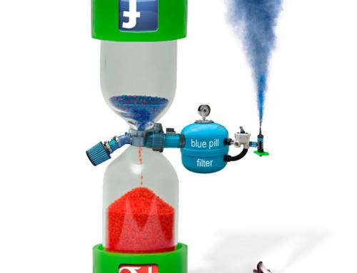 Přesýpací hodiny Facebook – Google+ sandglass