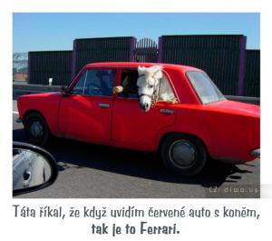 Diwous - Ferrari, Lada, červené auto, kůň, vtip, humor