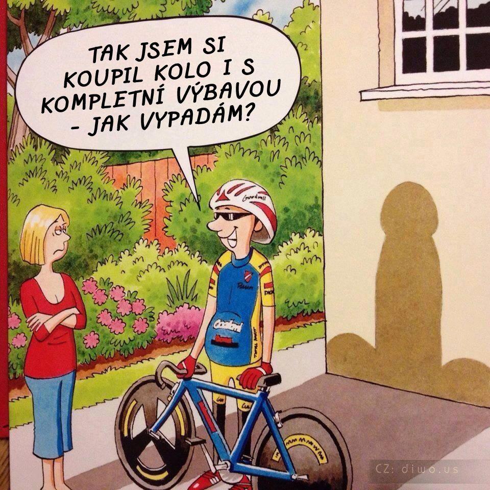 Diwous - cyklista vypadá jako penis, kokot, čurák, cyklobuzna, směšný barevný dres, kolo, helma, rukavice, cyklistické brýle, výbava, vtip, humor