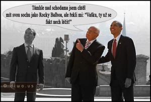 Diwous - Praha 2010, Barack Obama, Dmitrij Medvěděv, humor, odzbrojovací smlouva START 1, Rocky Balboa, socha, summit, Václav Klaus, vtip