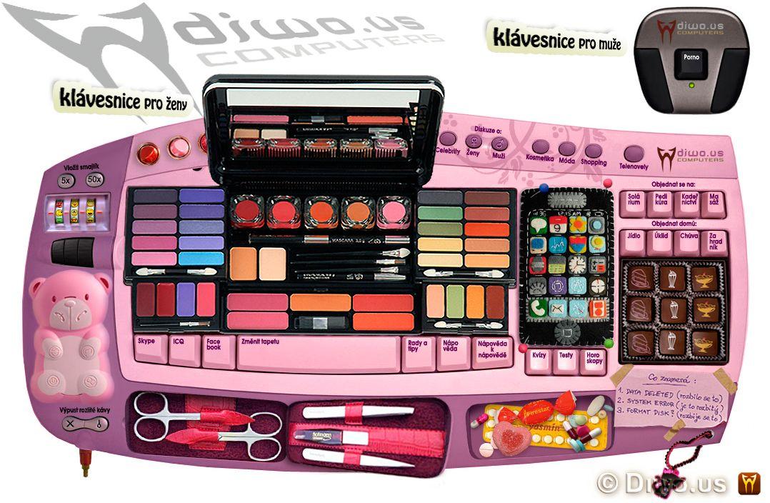 Diwous - Klávesnice pro ženy, pro muže, růžová, make-up, čokoláda, manikůra, mobil, rtěnky, léky, bonbóny, přívěsek, smajlíky