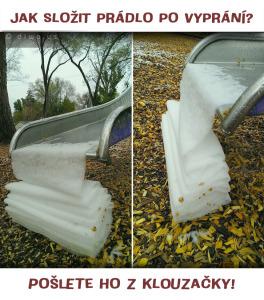 Diwous - Jak složit prádlo - klouzačka, humor, kuriozita, sníh, vtip