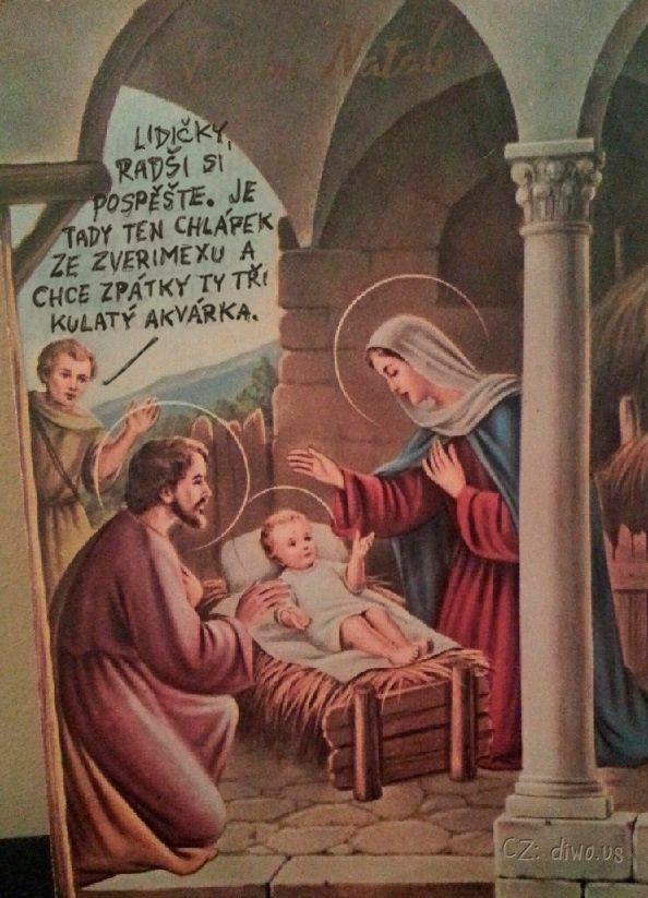 Diwous - Kulatý akvárka, náboženský obraz, svatý, Josef, Panna Marie, jezulátko, Ježíš, zverimex, akvárium, koule, jesličky, Betlém, svatozář, vtip, humor