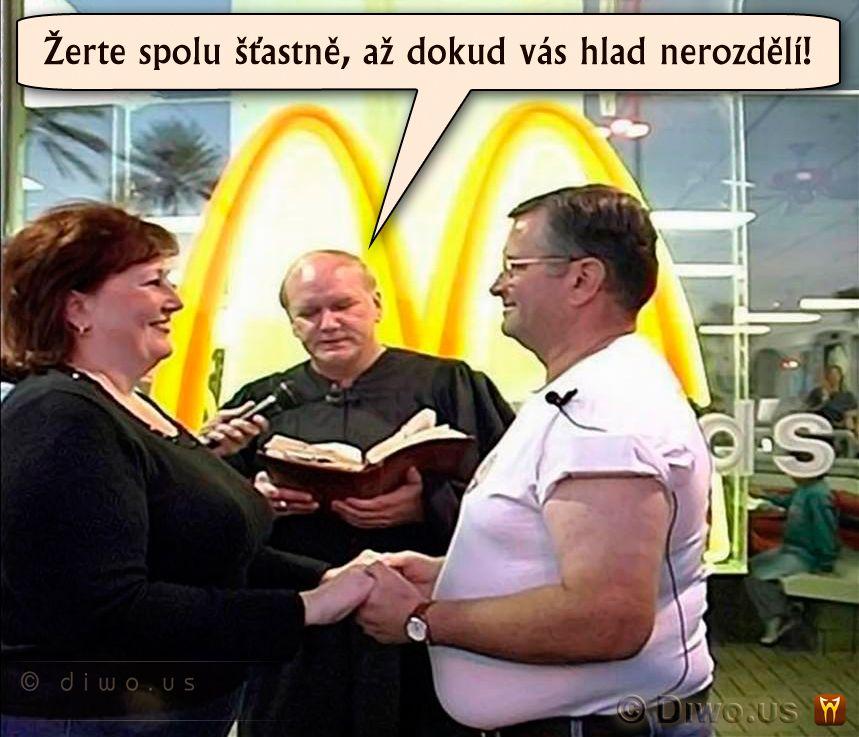 Diwous - Svatba v McDonald's, kněz, kuriozita, oddávající, svatba, tlusťoši