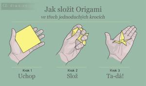 Diwous - Jak složit Origami, 3 kroky, jeřáb, papír, humor, vtip
