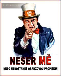 Diwous - Jiří Paroubek předvolební plakát NESER MĚ!, oranžová propiska I WANT YOU FOR US ARMY, Uncle Sam