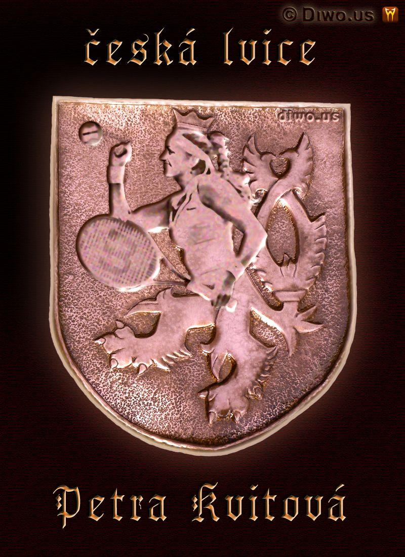 Diwous - Petra Kvitová, Wimbledon champion, několikanásobná Wimbledonská vítězka, česká lvice, znak, český lev, mosaz, erb, vtip, humor