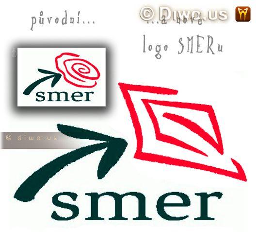 Diwous - SMER - sociálna demokracia - původní a nové logo, politická strana, Slovensko, piča, Fico, kontroverzní, politická strana, Slovensko