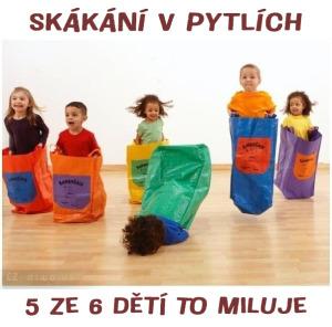 Diwous - skákání v pytlích, černý humor, vtip, dětská hra, 5 ze 6, pět ze šesti