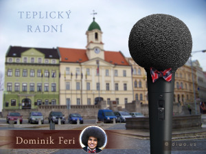 Diwous, afro, Dominik Feri, hipster, humor, město Teplice, mikrofon, motýlek, Nejmladší radní, politik, radnice, Teplický radní, vtip, zastupitel