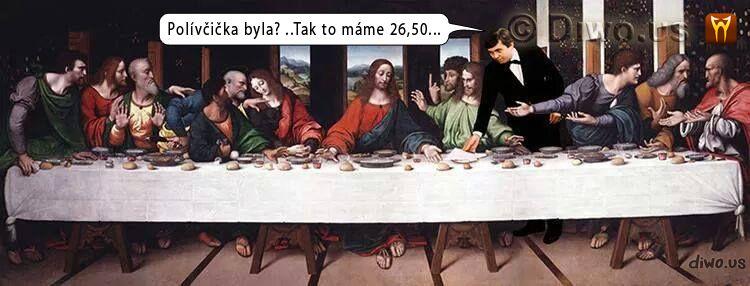 Diwous - Vrchní, prchni! – Poslední večeře páně, Josef Abrhám, Ježíš, Leonardo da Vinci, učedníci, polívčička