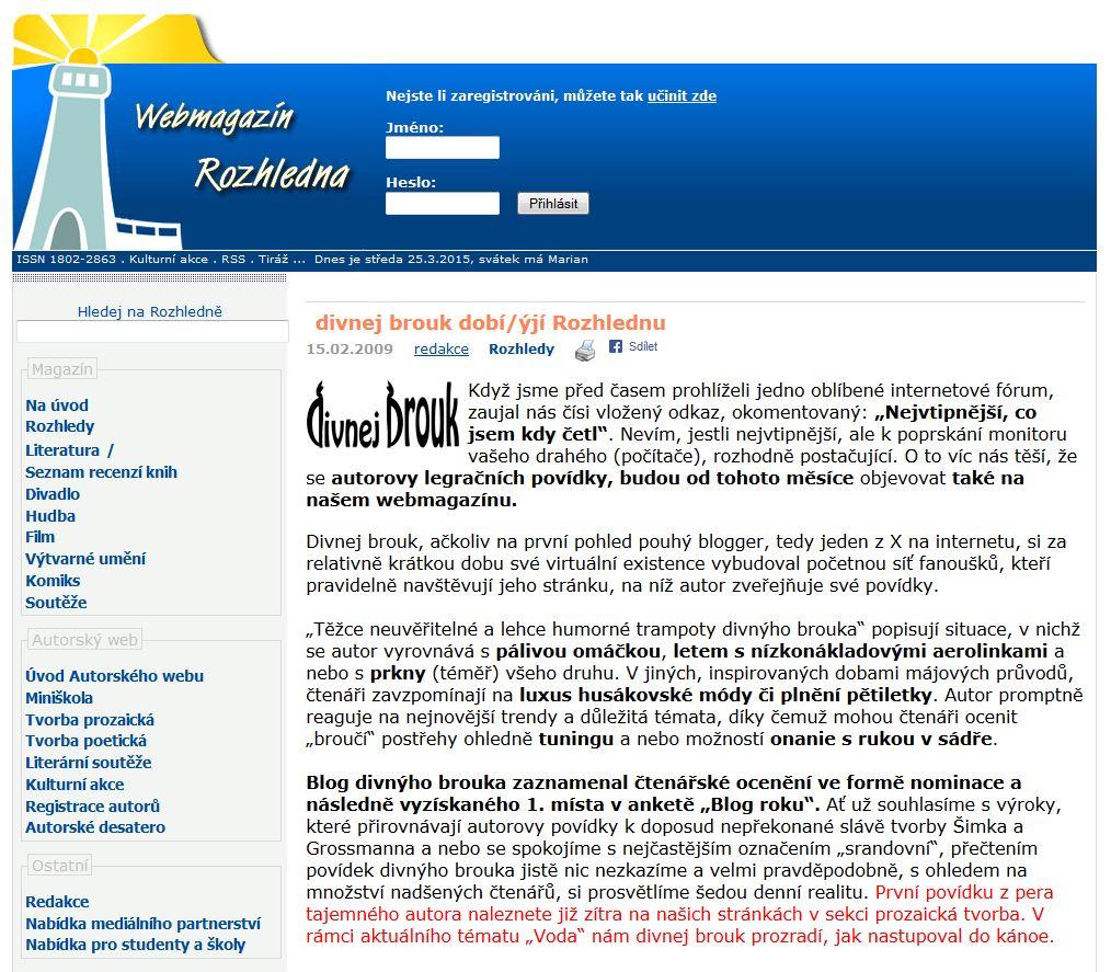 Diwous aka Divnej Brouk na Webmagazínu Rozhledna