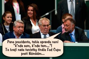 Diwous - Zeman na tenisu, kunda sem - kunda tam, české tenistky, FED Cup, finále, humor, prezident Miloš, tenis, vtip