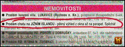 Diwous - Chata na Islandu - výbuch sopky, Bárdarbunga, Eldfell, Eyjafjallajökull, humor, Inzerát, Katla, nemovitosti, vtip