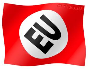 Diwous - Protektorát EU, Evropská unie, vlajka, logo, hákový kříž, nacismus, Německo, Hitler, fašismus, svastika, provokace, protektorat Böhmen und Mähren, Čechy a Morava, 3.11.2009, Lisabonská smlouva, Václav Klaus, Europe, European Union, flag, swastika, Lisbon treaty