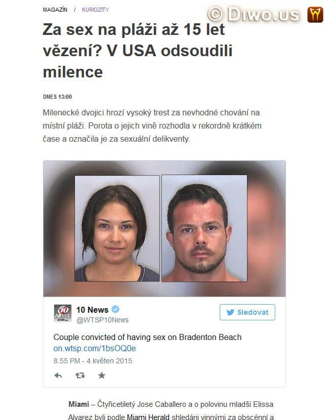 Diwous - Absurdistán, absurdite, Amerika, cenzura, Florida, nahota, pokrytectví, na pláži, sex on the beach, trest, USA, veřejnost, zákon