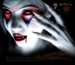 Diwous - Digital Art - Vampire Girl (Digital MakeUp and Nails), beauty, digitální grafika, makeup, nehty, diwoart, diwousart, fantasy, glamour, Halloween, horror, kresba, malba, photomanipulation, počítačová grafika, portrait, Virtual