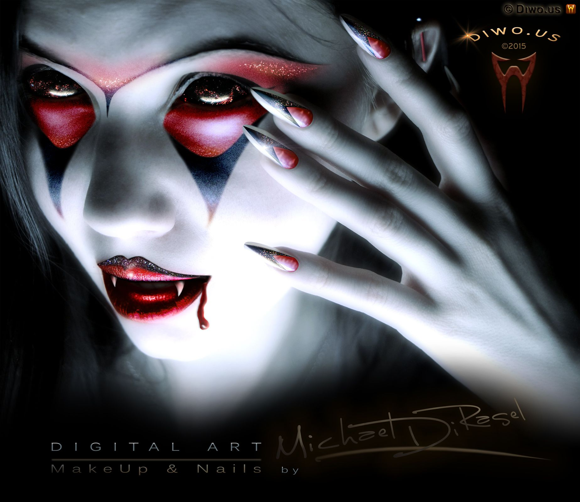 Diwous - Digital Art - Vampire Girl (Digital MakeUp and Nails), beauty, digitální grafika, makeup, nehty, diwoart, diwousart, fantasy, glamour, Halloween, horror, kresba, malba, photomanipulation, počítačová grafika, portrait, Virtual