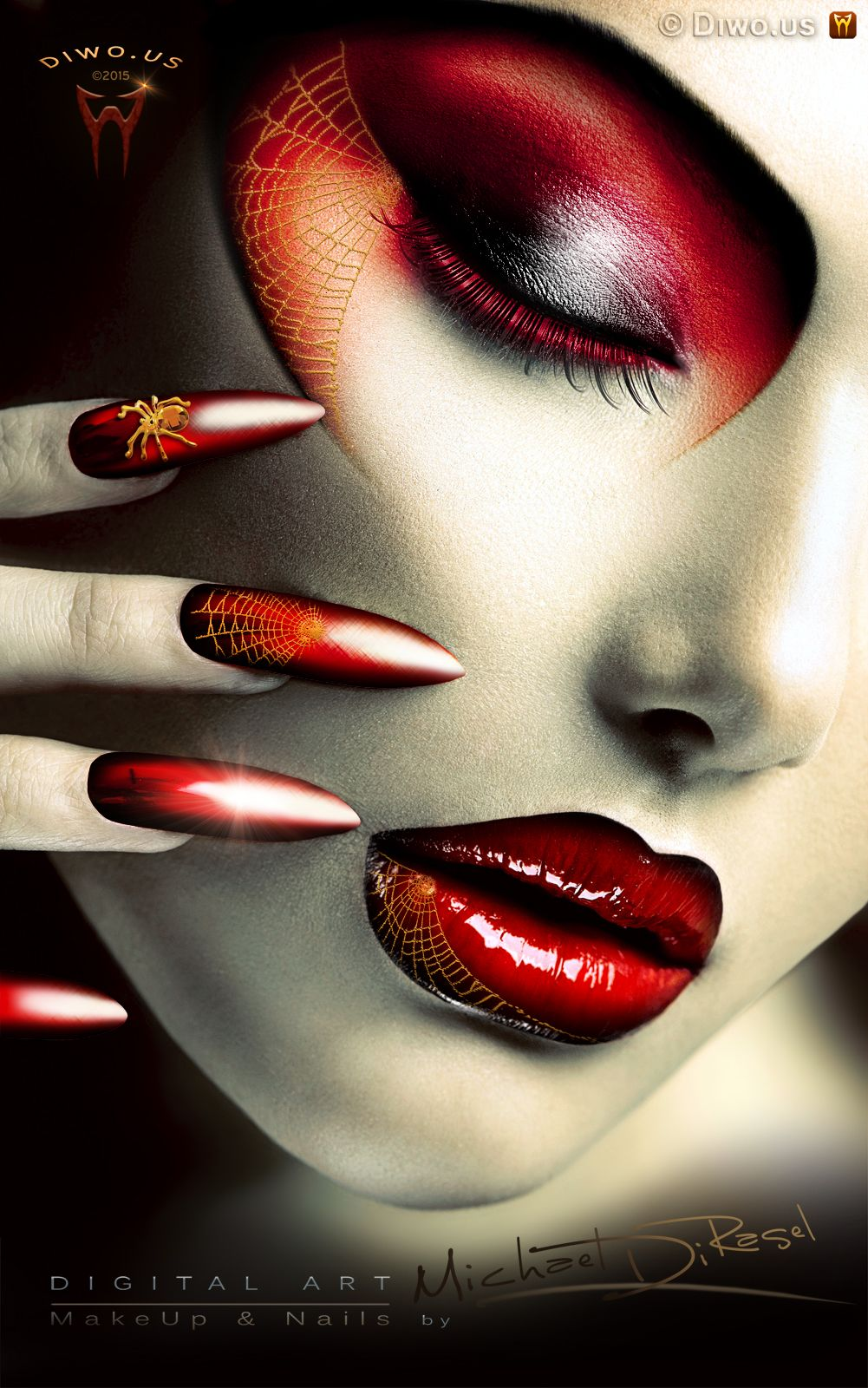 Diwous - Digital Art - Spider Girl, Elegant Halloween MakeUp and Nails, beauty, digitální grafika, nehty, diwoart, diwousart, fantasy, glamour, gold spider, horror, jewellery, kresba, malba, photomanipulation, počítačová grafika, portrait, net, Virtual