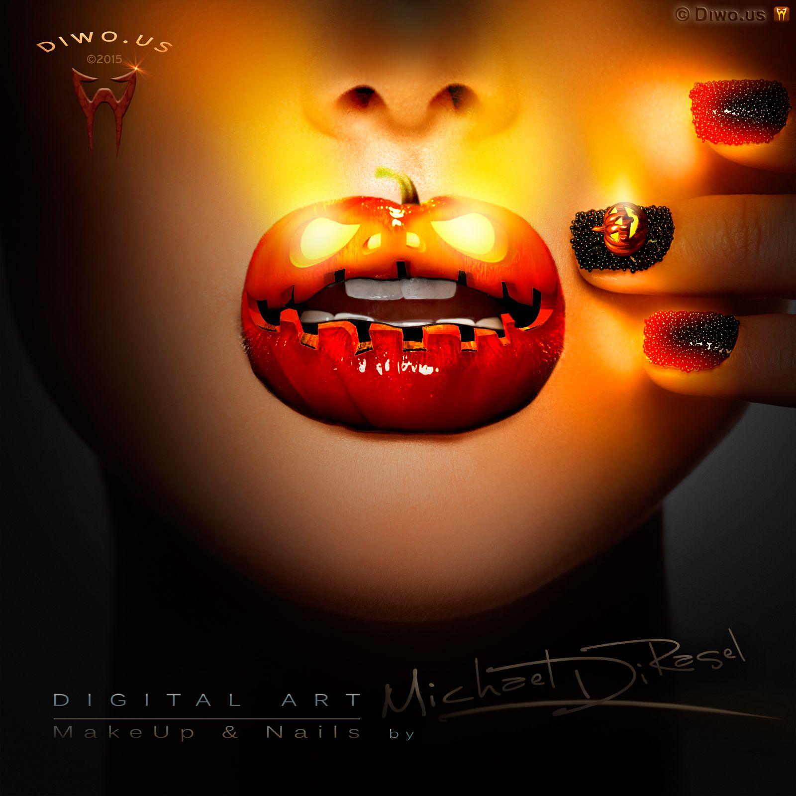 Diwous - Digital Art - Electric Pumpkin & Caviar, Halloween, MakeUp and Nails, beauty, digitální grafika, nehty, diwoart, diwousart, fantasy, glamour, kresba, malba, photomanipulation, počítačová grafika, portrait, Virtual