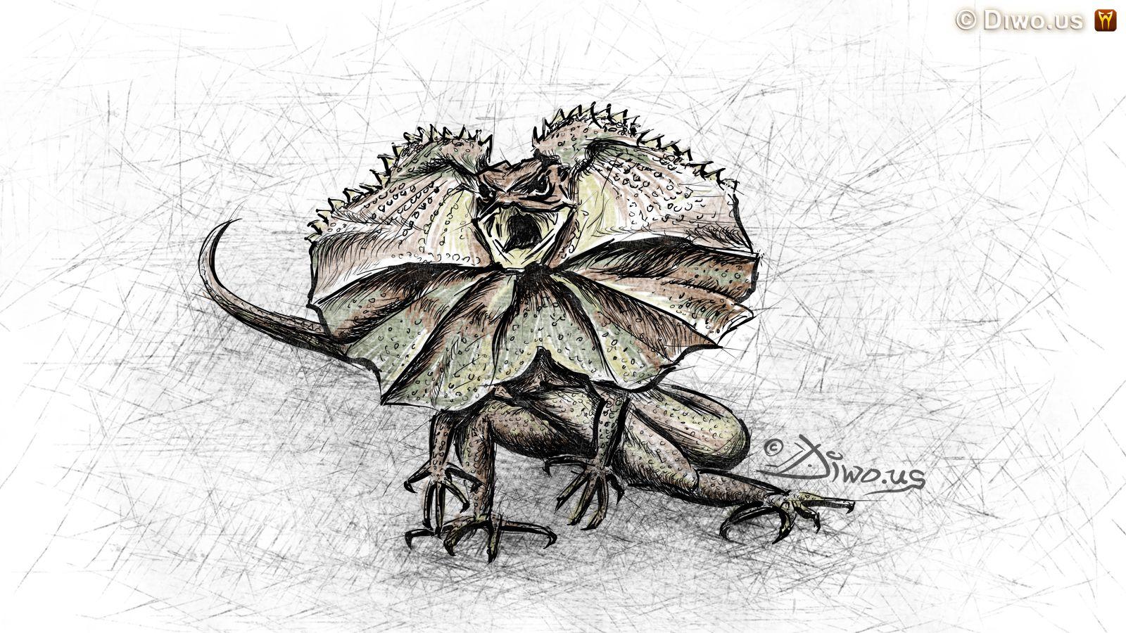 Diwous - fejeton - Porazit nás může jen naše vlastní zbabělost, Agama límcová, kresba