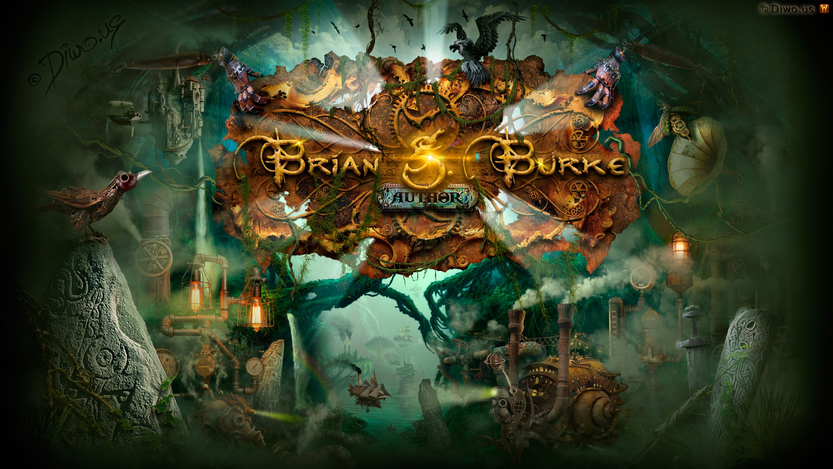Diwous - project Brian G. Burke, irish writer, author, fantasy, steampunk, celtic mythology, Digital Art