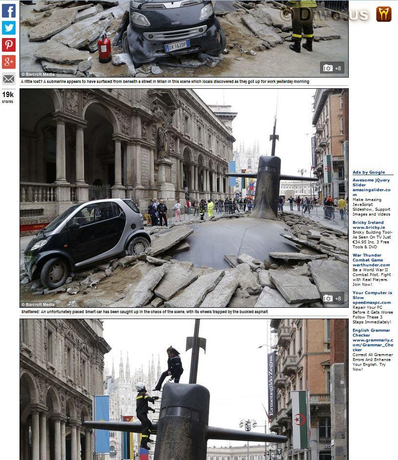 Diwous - Apple Maps, Itálie, Milán, reklamní kampaň, trik, vojenská ponorka, vtípek, žertík