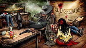 Diwous - El Desperado, #diwoselfie, photoillustration, digital illusionist, Art, drawing, cartoon, comics, collage, style, unique technique, Mexico, bar, salloon, colt, wooden floor, table, shooting, Tequila, mexican girl, poncho, cowboy, cigar, caballero hat, rider, desperát, mexičanka, hospoda, střelba, klobouk, rvačka, doutník, kráska