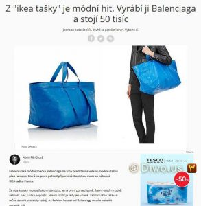 Diwous, IKEA, pytel od brambor, luxusní doplněk. modrá taška, Frakta, fashion, móda, značka, Balenciaga, bag, design