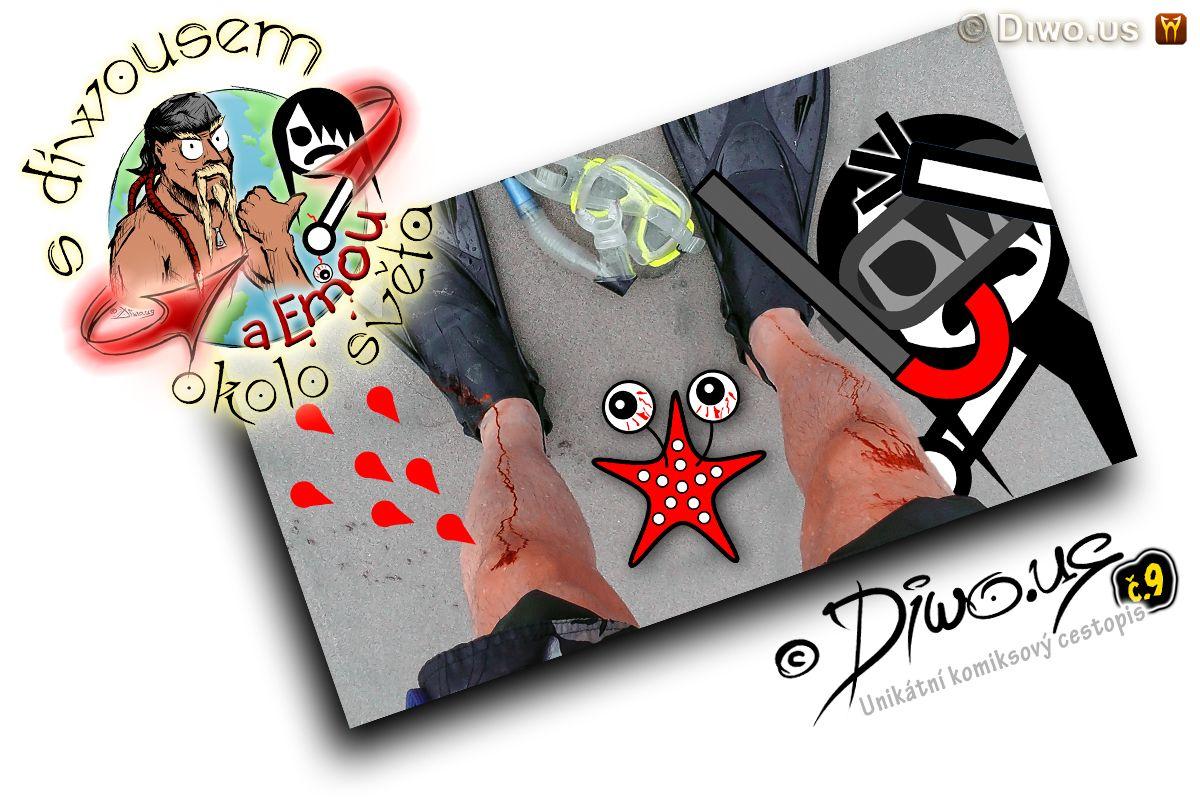 Diwous - s Diwousem a Emou okolo světa - díl 9 - Potápění na korálech, unikátní komiksový obrázkový cestopis, Emo Ema, FUJ!SLABIKÁŘ, morálně závadný komiks, pro psychicky narušené děti, tropy, atol, korálový ostrov,, bariéra, Karibik, Karibské moře, ploutve, šnorchl, potápěčské brýle, odřené koleno, krev, písek, riziko