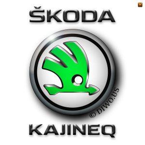 Diwous - Škoda Kajineq, Kodiaq, Karoq, nový model, písmena K a Q, propuštěný vězeň, Jiří Kajínek, Meme, mediální hvězda, rozhovor, odsouzený vrah, milost prezidenta, Miloš Zeman, tričko Adidas, jasně zelená barva, logo, znak, okřídlený šíp, vtip