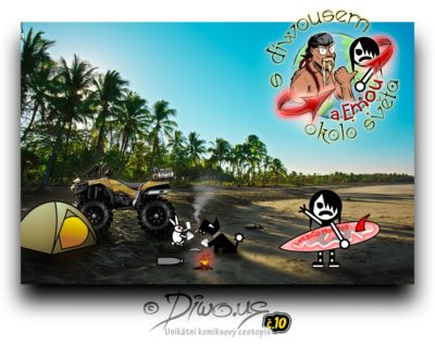 Diwous - s Diwousem a Emou okolo světa - díl 10 - Surfování v Karibiku, unikátní komiksový obrázkový cestopis, Emo Ema, FUJ!SLABIKÁŘ, morálně závadný komiks, pro psychicky narušené děti, tropy, Karibik, Karibské moře, divoká pláž, palmy, panenské ostrovy, hurikán Irma, Maria, José, 2017, devastace, surfing, obří vlny, prkno, Lollipop Monster, oheň stan, čtyřkolka Kawasaki Brute Force V Twin 750