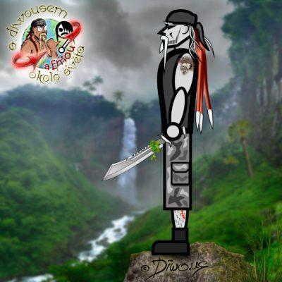 Diwous - Objevitel, s Diwousem a Emou okolo světa, tropy, džungle, Karibik, palmy, období dešťů, vodopád, tactical machete, taktická mačeta, palm tree, waterfall, jungle, rock, monsoon season, explorer, discoverer, bandana