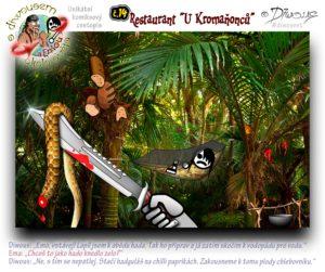 """Diwous - s Diwousem a Emou okolo světa - díl 14 – Restaurant """"U Kromaňonců"""", Karibské moře, palmy, divočina, táboření, džungle, tropický deštný prales, houpací síť, outdoor hamaka, moskytiéra, taktické mačeta, had, guláš, pečení, gril, kotlík, ohniště, chlebovník plod, chleba, ovoce, čili papričky, palm trees, Caribbean sea, jungle, camping, wild, tropical rain forest, mosquito net, tactical machete, snake, stew, goulash, chilli peppers, bread fruits, kettle, fireplace"""