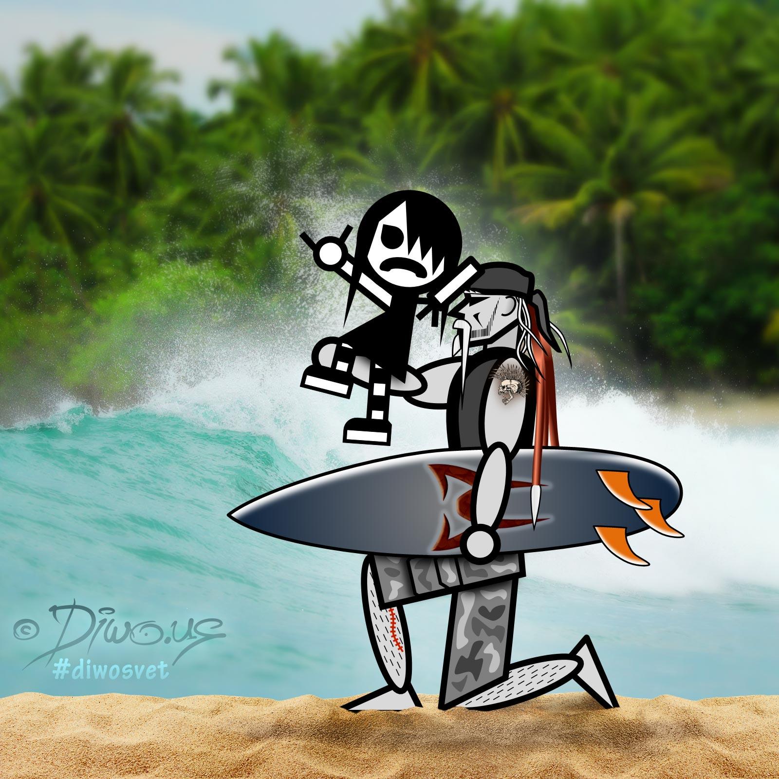 Diwous - Surfing, s Diwousem a Emou okolo světa, tropy, džungle, Karibik, palmy, písek, vlny, obří vlna, surfování, prkno, surf board, palm tree, jungle, sand, big wave