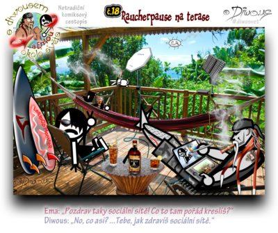 Diwous - netradiční komiksový cestopis, Karibik, moře, oceán, džungle, tropický deštný les, bungalow, terasa, houpací síť, hamaka, zahradní křeslo, relax, kubánský doutník, marihuana, surf prkno, shaka, dřevěný stolek rustik, karibský rum, mobilní anténa, satelitní internet, outdoorový sluneční kolektor, powerbanka, modulární kreslící laptop pro grafiky, Mobile satellite internet antena, foldable and portable solar collector, modular drawing tablet for graphic designers, bottle, carribean rum, jungle, terrace, hammock, garden chair, rustic coffee table, ganja, cigar, board