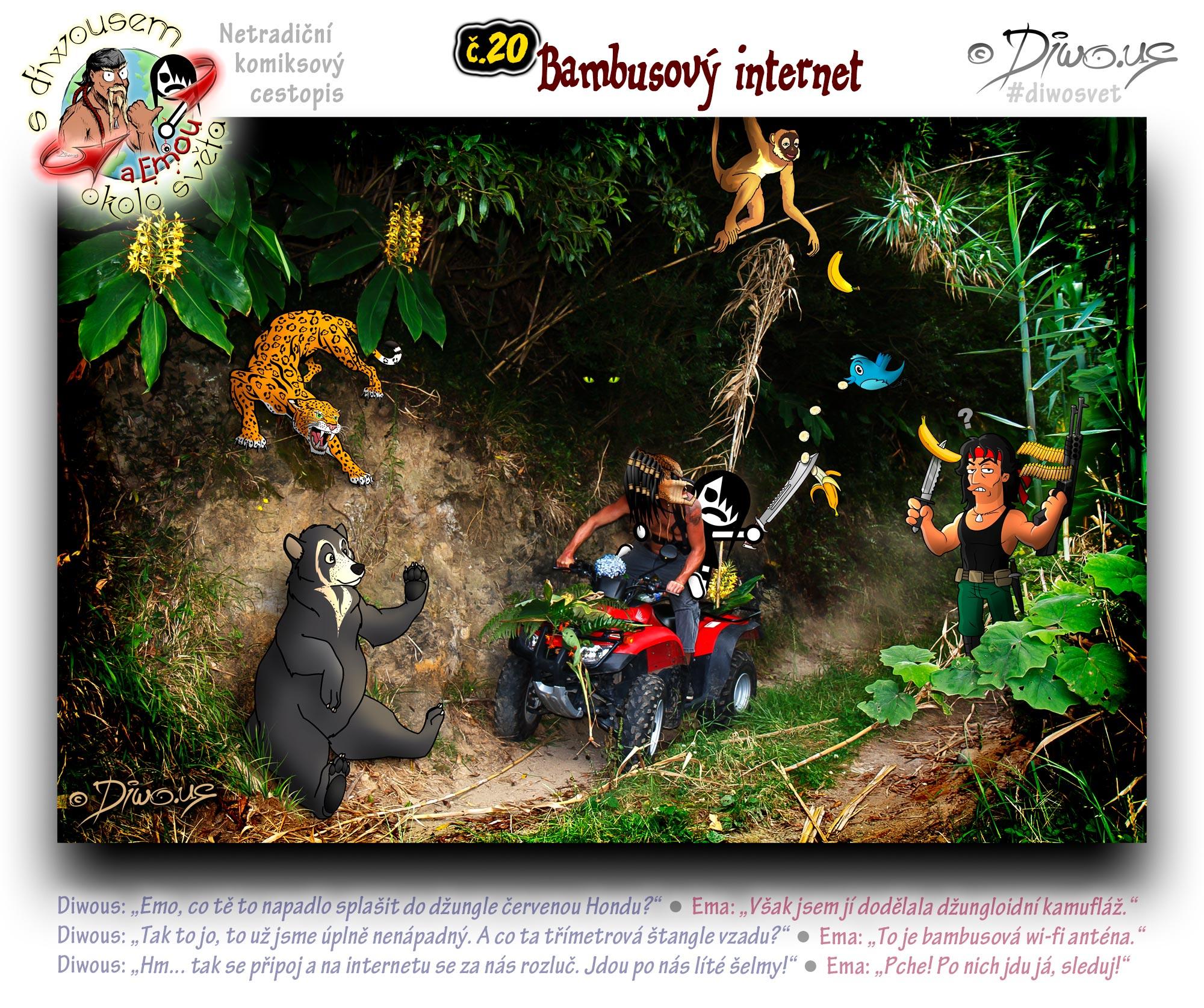 Diwous - netradiční komiksový cestopis, Ema, džungle, bambus, hortenzie květ, wi-fi anténa, jaguár, medvěd brýlatý, chápan, Cvrliky, modrý ptáček, Twitter logo, banán, John Rambo, útočná puška, taktický nůž, mačeta, čtyřkolka, Honda FourTrax 300, kamufláž, helma Predátor, šelma, Spectacled bear, Spider monkey, hydrangea bloom, bamboo, blue bird, banana, tactical knife, machete, assault rifle, quad, ATV, Sylvester Stallone, camouflage, Predator helmet, beast