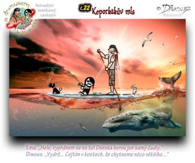 Diwous - netradiční komiksový cestopis, Ema, keporkak, prkno, surf, pádlování, rybaření, ryby, medúza, hejno, západ slunce, moře, oceán, velryba, pes, králík, racek mořský, návnada, rybářský prut, Hawaii, paddleboard, SUP, Jimmy Lewis, paddle, NAISH, fishing, rod, bait, jellyfish, shoal, sunset, ocean, sea, whale, seagull