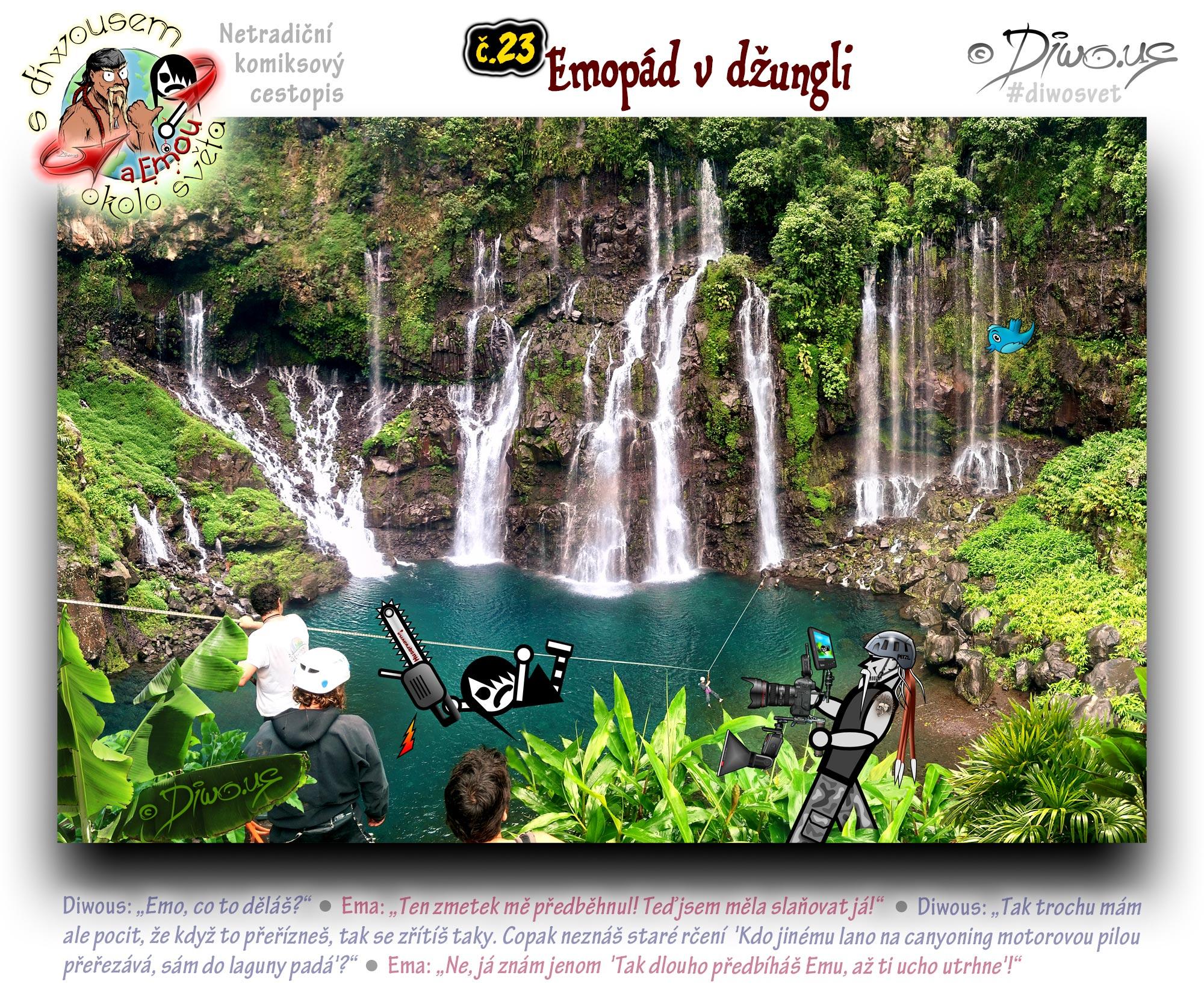 Diwous - netradiční komiksový cestopis, Ema, džungle, banánovník, vegetace, romantika, vodopád, laguna, jezero, canyoning, helma Petzl, lana, karabiny, vybavení, slaňování, cvrliky, Canon EOS 1D Mark IV, RIG master, Aputure Trigmaster Plus II 2.4G, Screen vs2, Speedlite 600EX II-RT, softbox diffuser, Canon Zoom Lens EF 16-35mm 1:2.8 L II USM, jungle, banana tree, waterfall, lagoon, lake, helmet, rope down, snap hook