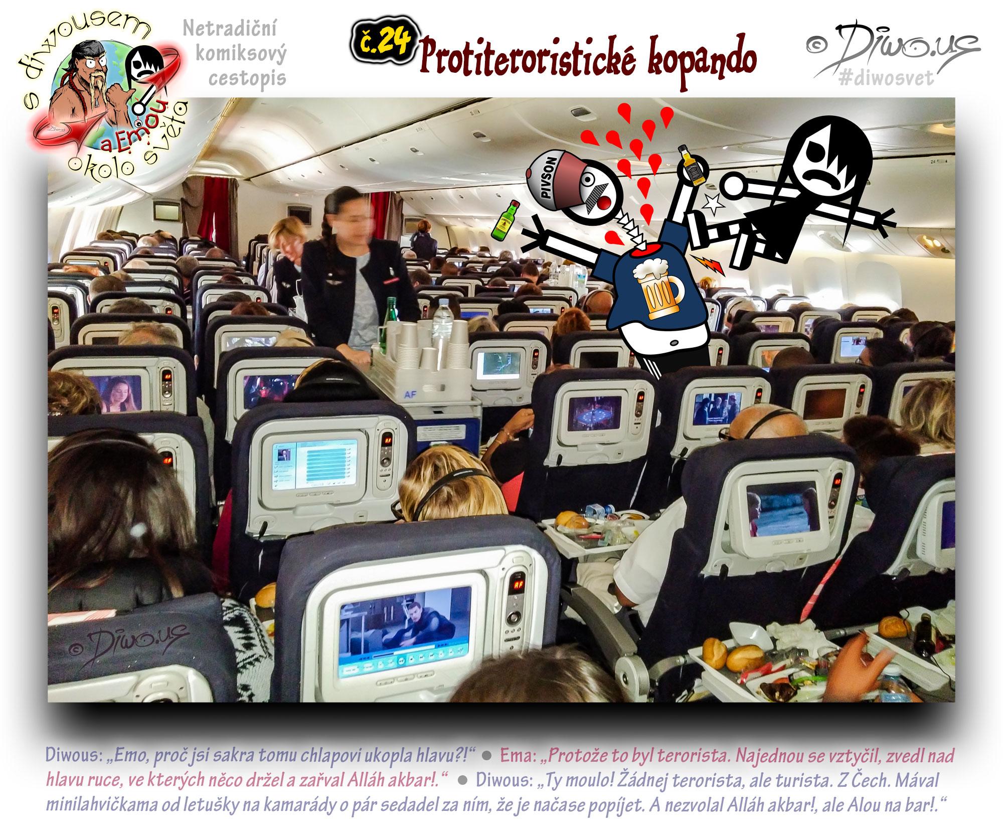 Diwous - netradiční komiksový cestopis, Ema, Boeing 777, cestující, obrazovka, letuška, občerstvení, jídlo, minilahvičky, terorista, turista, pivo tričko, protiteroristické komando, interior, economy cabin, passengers, screen, stewardess, snack, lunch, meal, sky, alcohol, minibottle, beverages, terrorist, tourist, kick, anti-terrorist commando, beer T-shirt, Jack Daniel's Tennessee Whiskey, Jameson Irish Whiskey