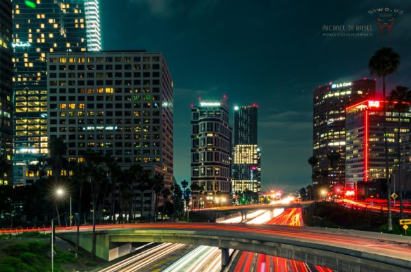 Diwous - photography, Los Angeles Down Town, highway, scyscraper, trafic, cars, lights, night, blur effect, manual HDR